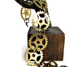 Steampunk Brass Sprocket Bracelet with Red Swarovski Crystals