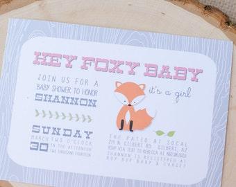 Foxy Baby - Woodland Fox Theme Baby Shower - Printable Party Invitation - Petite Party Studio
