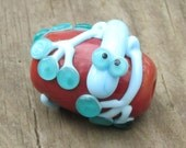 Sky Blue on Coral Lizard Gecko Chameleon Lampwork Glass Bead Handmade SRA Artisan NLC Beads leteam