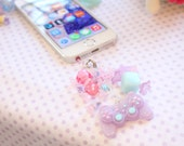 Fairy Kei Game Controller Headphone Jack  Phone Charm lavender glitter