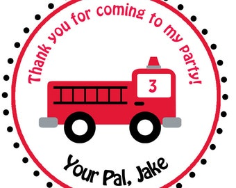 firetruck birthday stickers - fireman firefighter birthday sticker fire truck birthday