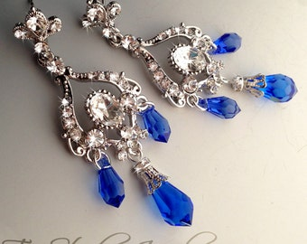 Royal blue chandelier earring – Etsy:Royal Sapphire Blue Bridal Chandelier Earrings,Lighting