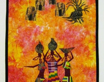 African sunshine Fiber art Quilt ready to ship