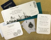 Las Vegas Skyline Plane Ticket wedding invitation; destination wedding; elope; vegas wedding SAMPLE