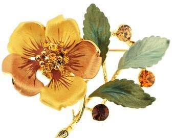 Topaz Brown Flower Swarovski Crystal Pin Brooch 1011342