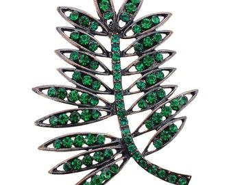 Emerald Green Elm Tree Leaves Pin Brooch 1003592