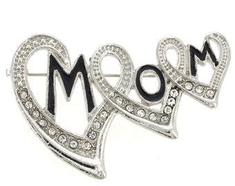 Triple Hearts Mom Pin Brooch 1003611