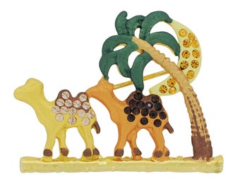 Camel Paml Tree and Moon Swarovski Crystal Brooch Pin 1011941