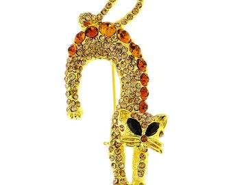 Golden Topaz Brown Crystal Cat Pin Brooch 1002364