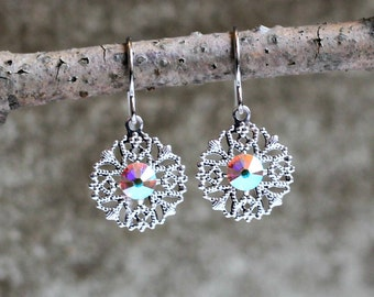 Silver Filigree Earrings with Iridescent Clear Swarovski Crystal Rhinestones