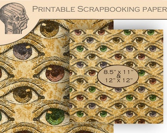 Printable Digital Scrapbooking Paper Antique Anatomy Eyes Background Floral Paper Instant Download Graphics