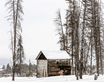 Cabin Photograph, Winter Cabin Photograph, Minimalist, Art, Photograph, Landscape