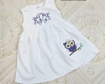 Owl Dress,  Personalized Dress,  Appliqued Dress, Embroidered Dress, Monogrammed Dress, Toddler Dress, Summer Dress, Sundress