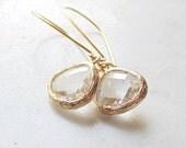 Clear glass earrings Bridal earrings Bridesmaid earrings Crystal bridal earrings Wedding jewelry Dangle earrings Christmas gift Holiday gift