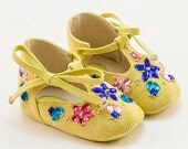 Yellow Baby Shoes, Baby  Girl Shoes Colorful Baby Shoes, Crib Shoes - Crystal-embellished yellow baby booties by Vibys