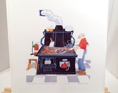 Cook & Proprietor, Aniak Lodge, 1995 by Rie Munoz / Signed Limited Edition Lithograph / #107 / 1250