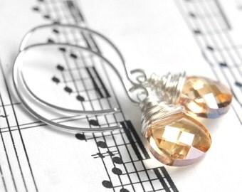 Swarovski Crystal Earrings, Golden Shadow, Sterling Silver Wire Wrapped Flat Pear Briolette Drops on Handmade Sterling Silver Earwires