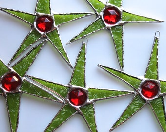 Christmas Jewel Star- 4 inch textured lime green stained glass with vintage faceted glass jewel center