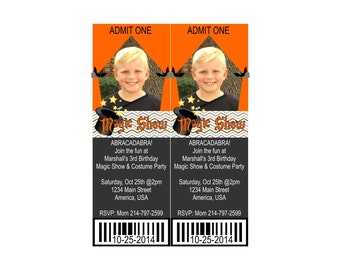 Halloween Magic Show Ticket Birthday Invitation