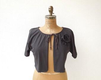 T Shirt Cardigan Womens Shrug Girls Cardigan Chocolate Brown M - L Short Sleeve Recycled Tee Bolero Cotton Cardigan Autumn Fall ohzie