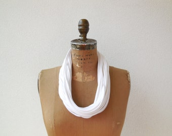 "Infinity Scarf Necklace Women's T Shirt Necklace White Recycled Necklace 32"" Long 81 cm Cotton Scarf Fashion Necklace ohzie"