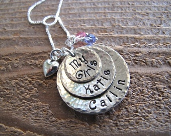 Slightly Cupped  and Hammered Mom's 3 Stack Necklace with puff heart charm in Nickel Silver with Two or Three Names of your choosing .