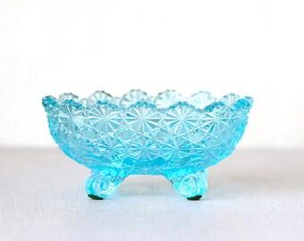 Vintage Blue Glass Candy Dish - Retro Chic Home Decor Houseware