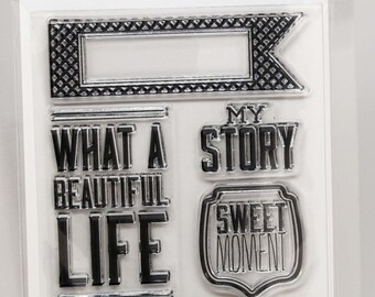 KaiserCraft Spring Bloom Collection Clear Stamps -- Acrylic -- My Story What a Beautiful Life Chevron