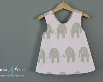 Modern Elephant Sweet  pinafore  2t 3t 4/5t   tunic top pink taupe ready to ship