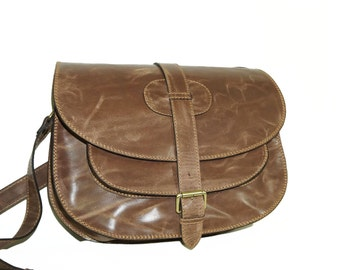 "Distressed Tan Goldmann xl - leather saddle bag leather messenger leather cross-body purse satchel saddle bag, fits a 11"" laptop"
