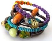 Unusual jewelry OBSERVATION  wrap memory wire bracelet chunky beaded memory wire wrap bracelet unique bracelet