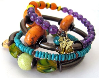 Unusual jewelry OBSERVATION  wrap memory wire bracelet chunky beaded memory wire wrap bracelet unique bracelet