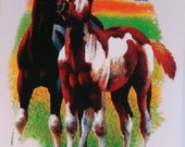 Two Foals Playing Paint Horses on Womans Quality T Shirt Free Shipping to USA16447