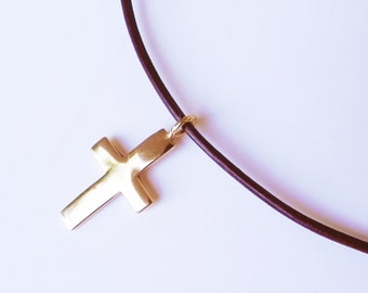 14K yellow gold cross pendant - men jewelry - gift for him for her - baptism necklace - cross for boy