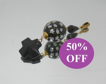 NOW 50% OFF - Black Swarovski Cross Pendant with Lampwork Glass Bead
