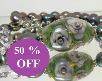 NOW 50% OFF - Purple Iris Freshwater Pearl Necklace Set featuring Vickie Lee Lampwork, Amethyst Briolettes and Sterling Silver