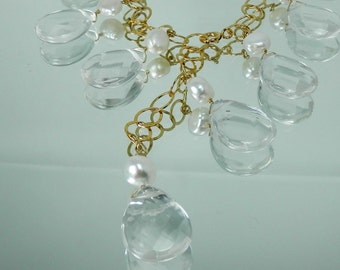 Large Faceted Crystal Quartz Drops Lariat Necklace on Gold Filled Chain