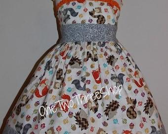 Fox Squirrel Fall thanksgiving Custom Boutique Children Clothing Jumper Dress