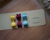 Mini Helen Hair Bow Trio -  Felt Bow Tie Hair Bow in Mustard, Burgundy and Teal