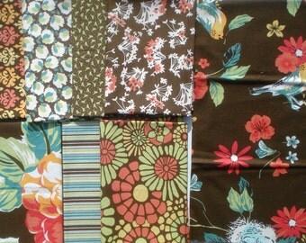 Blossom Urban Chiks bark brown moda fabrics 8 FQ Set