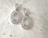 Diamond Earring Enhancers, Diamond Halo Oval Earring Jacket, 14KWG Drops, Diamond Drops, Wedding Statement, Diamond Earring, Birthday Gift