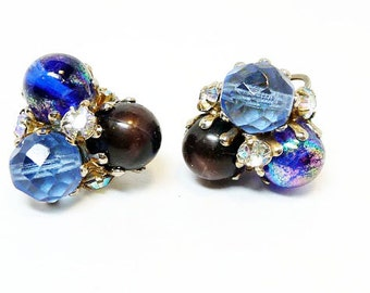 Vintage Blue Bead Earrings - Signed Vogue Clip ons - Art Glass Jewellery