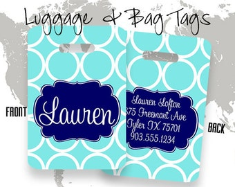 Hoops Personalized Bag or Luggage Tag, Custom Personalized Bag Tag, Monogrammed Bag Tags, Kids Personalized Bag Tags