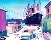Giant ship in Hobart harbour, mid century illustration of Hobart Tasmania by Sasek