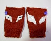 Fox Fingerless Mittens, Woodland Animal Gloves, Fingerless Fox Gloves, Red Fox Hand Warmers Child Women Mittens.
