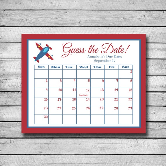 Guess the Date Airplane Baby Shower Game Due Date by swtleilanidesigns ...