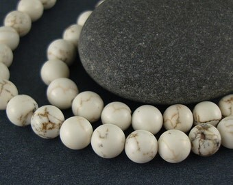 Magnesite Beads, Cream Color Bead, White Round Bead, Tan Bead, 6.5 mm Round Bead, Beads with Veins, Creamy White Bead - 16 Inch Strand