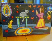Mexican Folk Art Retablo For Pets to get along!!! Our Lady Of Guadalupe Sacred Heart Orginal