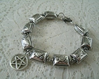 Silver Pentacle Bracelet, wiccan jewelry pagan jewelry wicca jewelry witch witchcraft goddess pentagram metaphysical magic