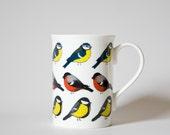 Birds fine bone china cup - Bullfinch, royal tit and blue tit